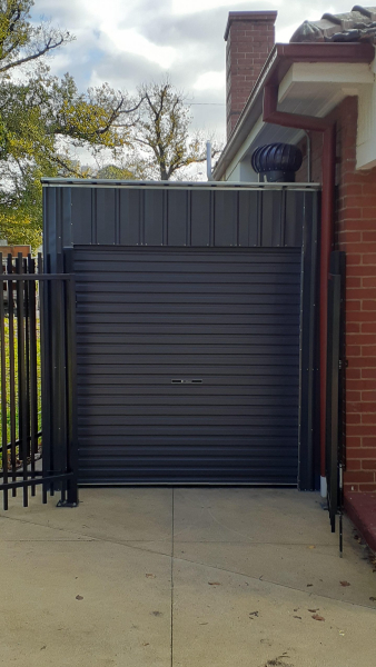 Roller Door Storage Shed Tight Space Solution