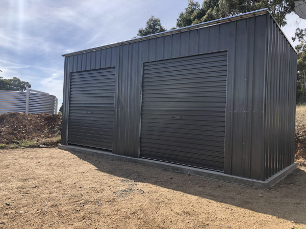 Skillion Shed with Roller Doors