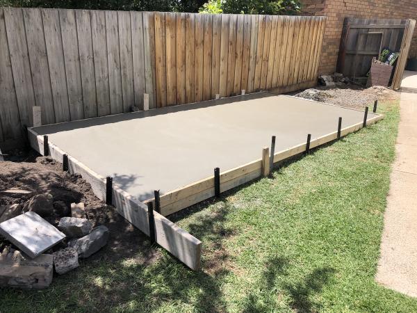 Garden Shed Finished Flat Concrete Slab