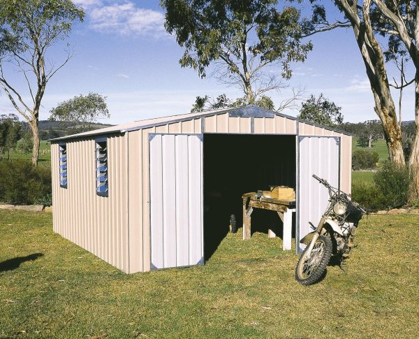 Large Gable Roof Storage Shed Double Doors Gable End and Louvre Windows
