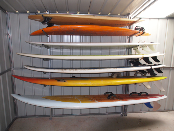 Surfboards stored in a garden shed Australia