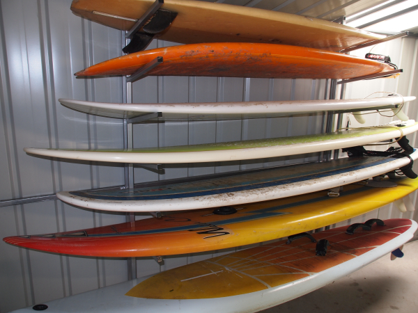 Surfboards in a storage shed Australia