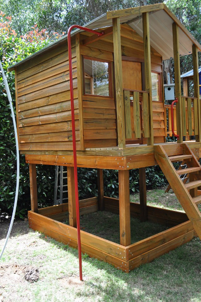 Gable Roof Cubby House elevated fireman's pole