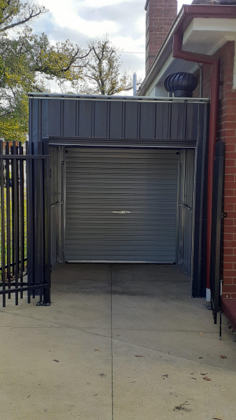 Roller Door Storage Shed Narrow Space