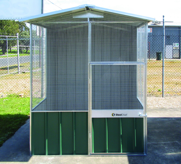 Small Aviary with wire in the sides and Gable end.