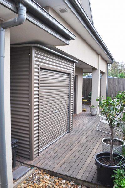Slimline Corrugated Roller Door Shed Tight Space Storage Idea