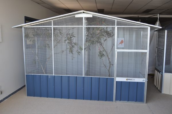 Wire In Gable Aviary with Divider