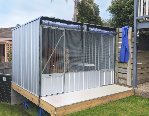 Cattery with blinds and divider for two cats.