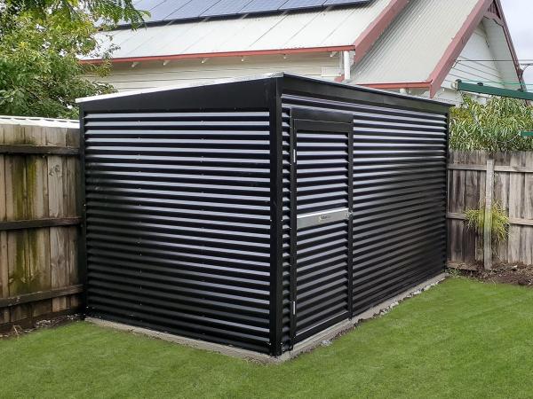 Corrugated Garden Shed with custom Horizontal Cladding