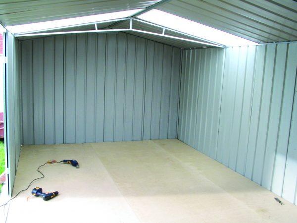 Wooden Floor inside garden shed.