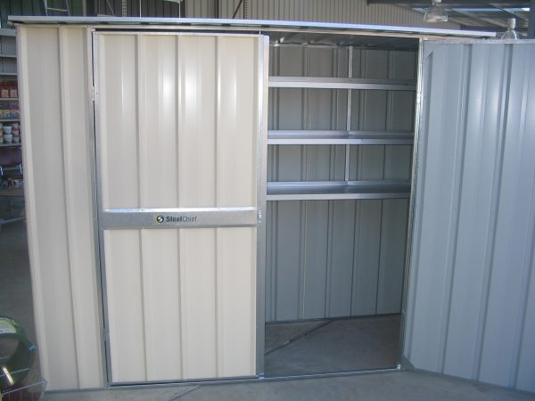 Flat Roof double hinged doors with shelving
