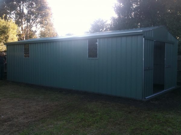 Large Gable roof shed with louvre windows and sliding double doors