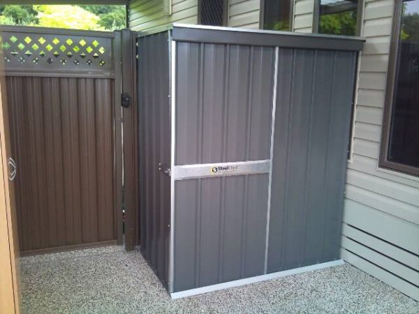 Small Flat roof garden shed with sliding door