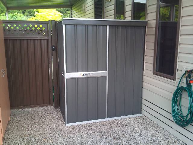 Small Flat Roof Garden Shed with sliding doors