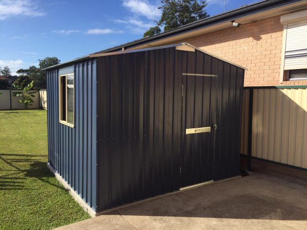 Gable roof steel framed heavy duty strong shed with sliding window