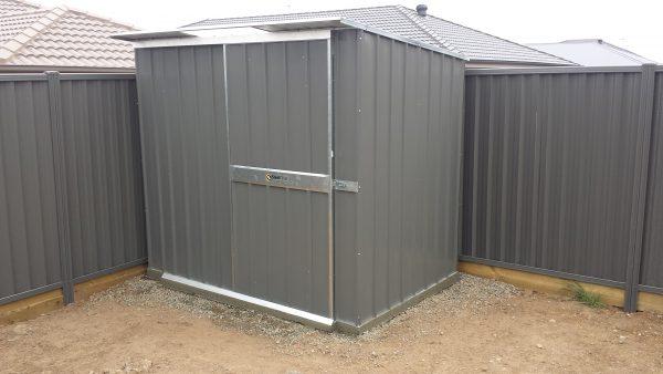 Skillion Roof Garden Shed on rebated Slab with sliding door