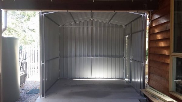 3 sided open bay shed with steel frame