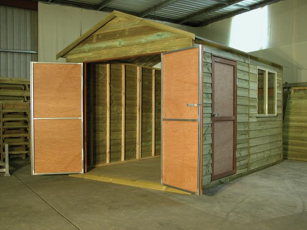 Timber Gable shed with sliding window and extra double doors