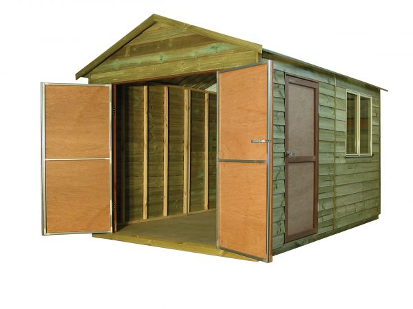 Large Timber Gable Shed with Double doors and sliding window