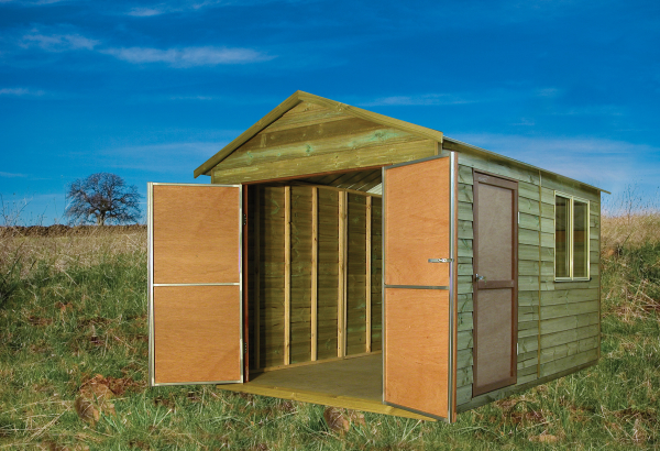 Tmber Gable shed with sliding window and extra double doors