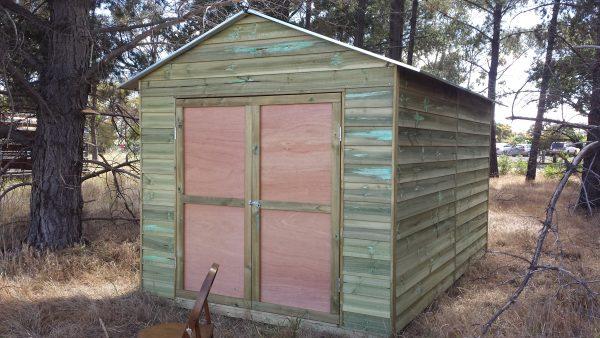 Workshop Wooden Pine Double Door Gable End