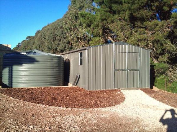 Large Gable Roof Shed with double doors and louvre window