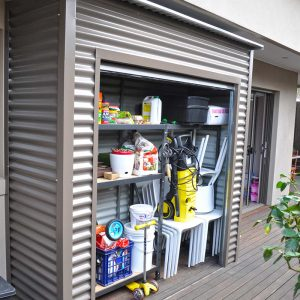 Roller Door Storage Locker with horizontal corrugated sheeting