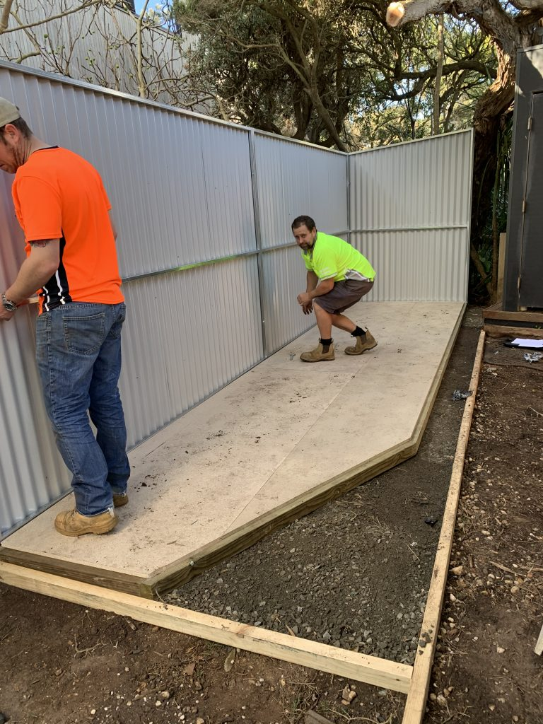 Garden shed custom base with preassembled panels